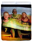 Larry Bird Michael Jordon And Magic Johnson Duvet Cover by Marvin Blaine