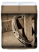 Lasso On Fence Post Rustic Duvet Cover