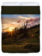 Last Light At Cedar Duvet Cover by Chad Dutson