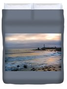 Last Light At Pigeon Point Lighthouse Duvet Cover