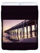 Last Light At The Capitola Wharf Duvet Cover