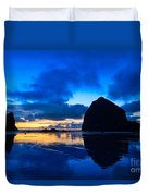Last Light - Cannon Beach Sunset With Reflection In Oregon The Coast Duvet Cover