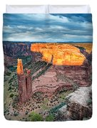 Last Light On Spider Rock Canyon De Chelly Navajo Nation Chinle Arizona Duvet Cover