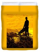 Last Surfer Standing Duvet Cover by Ian  MacDonald