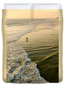 Last Wave - Lone Surfer Waiting For The Perfect Wave In Huntington Beach Duvet Cover
