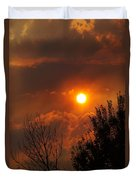 Late Afternoon Sun Through Smoke And Clouds Duvet Cover