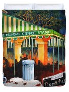Late At Cafe Du Monde Duvet Cover