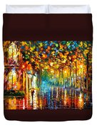 Late Stroll Miami Duvet Cover by Leonid Afremov
