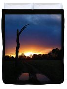 Late Sunset And Tree Duvet Cover