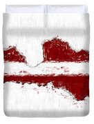 Latvia Painted Flag Map Duvet Cover