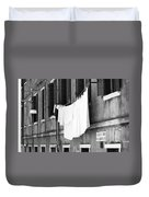 Laundry IIi Black And White Venice Italy Duvet Cover