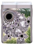 Lavender And Green Fractal Abstract  Duvet Cover
