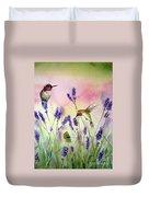 Lavender And Hummingbirds Duvet Cover