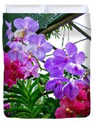 Lavender And Red Orchids At Maerim Orchid Farm In Chiang Mai-tha Duvet Cover