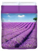 Lavender Field And Tree In Summer Provence France. Duvet Cover by Matteo Colombo