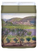 Lavender Seen Through Quince Trees Duvet Cover by Timothy  Easton