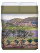 Lavender Seen Through Quince Trees Duvet Cover