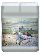 Lawson's Boathouse -- Winter -- Harlem River Duvet Cover