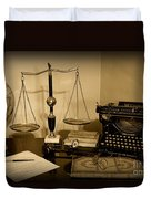 Lawyer - The Lawyer's Desk In Black And White Duvet Cover