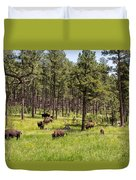 Lazily Grazing Bison Duvet Cover