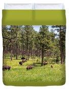 Lazily Grazing Bison Duvet Cover