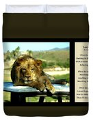 Lazy Lion With Poety Duvet Cover