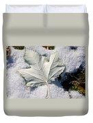 Leaf In Snow Duvet Cover