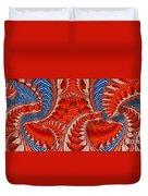 Leaf Pattern In Red Duvet Cover