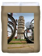 Leaning Bicycles Of Pisa Duvet Cover