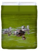 Least Grebe And Young Duvet Cover