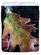 Leaves And Frost Duvet Cover