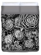 Leaves And Succulents Duvet Cover