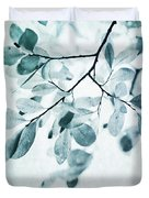 Leaves In Dusty Blue Duvet Cover by Priska Wettstein