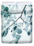 Leaves In Dusty Blue Duvet Cover