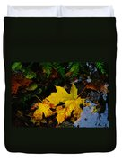 Leaves In Still Shallows Duvet Cover