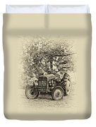 Left Fielder Antique Duvet Cover
