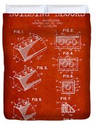 Lego Toy Building Blocks Patent - Red Duvet Cover