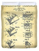 Lego Toy Building Blocks Patent - Vintage Duvet Cover by Aged Pixel