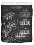 Lego Toy Building Brick Patent - Dark Duvet Cover by Aged Pixel