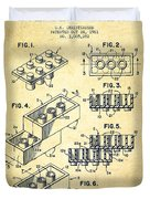 Lego Toy Building Brick Patent - Vintage Duvet Cover by Aged Pixel