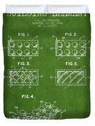 Lego Toy Building Element Patent - Green Duvet Cover by Aged Pixel