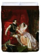 Leicester And Amy Robsart At Cumnor Duvet Cover by Edward Matthew Ward