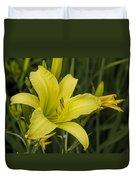 Lemon Yellow Daylily Blossom Duvet Cover