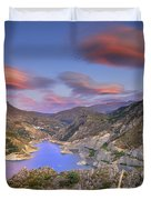 Lenticular Clouds At The Red Sunset Duvet Cover