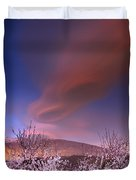 Lenticular Clouds Over Almond Trees Duvet Cover