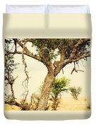 Leopard Eating His Victim On A Tree In Tanzania Duvet Cover