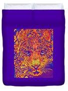 Leopard Eyes Orange Duvet Cover