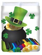 Leprechaun Hat With Piano Keys And Pot Of Gold Duvet Cover