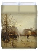 Les Boulevards Paris Duvet Cover by Eugene Galien-Laloue