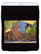Les Saveurs Cafe Resto Grillades Tapas Petit Dejeuner Montreal French Cafe City Scene Carole Spandau Duvet Cover